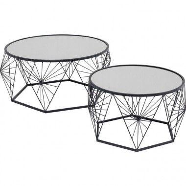 Set de 2 tables basses toile d'araignée noir métal SPIDER