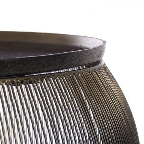 Set de 2 Tables basses métal aluminium noir HIERRU