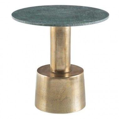 Table d'appoint vert/or aluminium marbre 60 cm MUJY