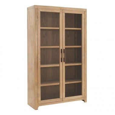 Armoire vitrée 2 portes bois d'orme SCOTTISH