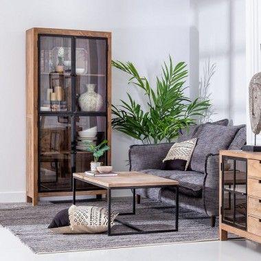 Armoire vitrée 2 portes bois de manguier SCOTTISH