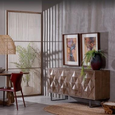 Commode style naturel bois de sapin 4 portes CROISY