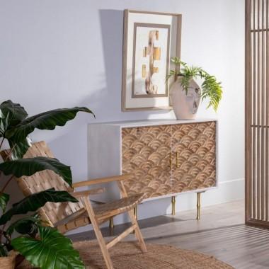 Buffet bois blanc/or motifs 2 portes SALTO