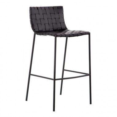 Tabouret métal/cuir noir QUEMO