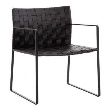 Chaise avec accoudoirs métal/cuir noir QUEMO