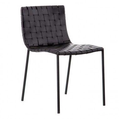 Chaise métal/cuir noir QUEMO
