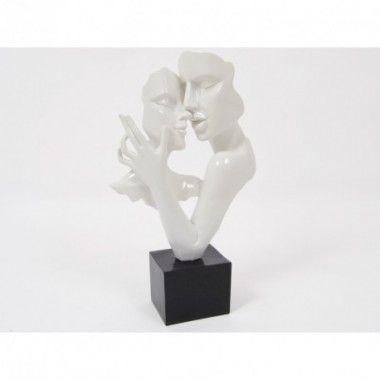 Statue double visage danse blanc 50 cm CONSTANTIN