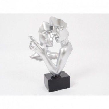 Statue double visage danse argenté 38 cm CONSTANTIN