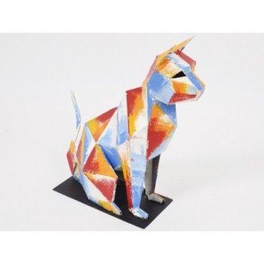 Statue chat multicolore métal 42 cm ARCADE