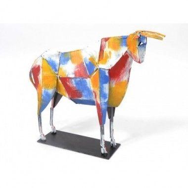 Statue taureau multicolore métal 47 cm ARCADE