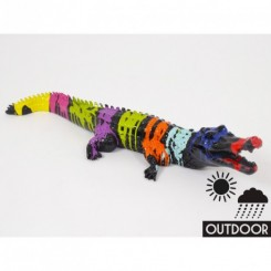 Statue crocodile noir 90cm TRASH