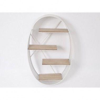 Etagère ovale 4 tablettes blanc bois métal CAMARET