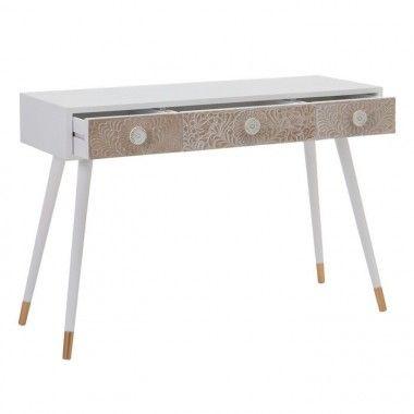 Console bois blanc naturel motifs 3 tiroirs FLORE