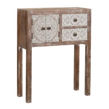 Console en bois à motifs 2 tiroirs 2 portes 63 cm UNTY