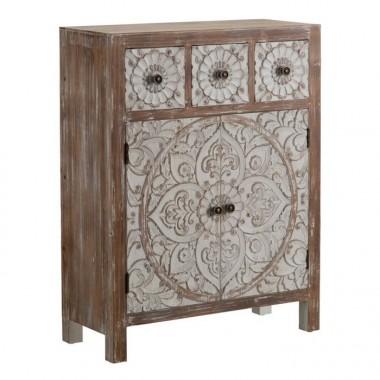 Commode en bois à motifs 3 tiroirs 2 portes 63 cm UNTY