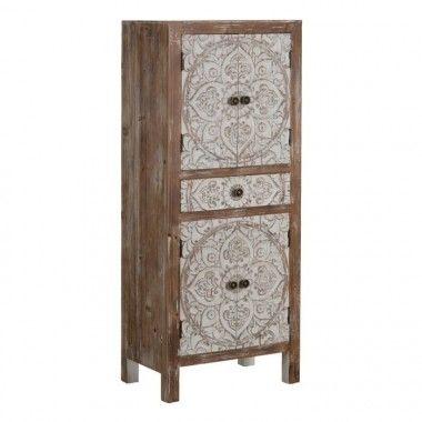 Armoire en bois à motifs 1 tiroir 4 portes UNTY