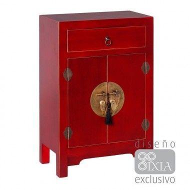 Petite table bois rouge à motifs 1 tiroir 2 portes métal ORIENTE