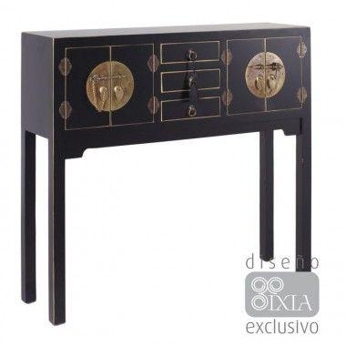 Console en bois noir à motifs 3 tiroirs 4 portes métal ORIENTE