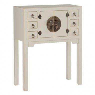 Console en bois taupe old à motifs 6 tiroirs 2 portes métal ORIENTE