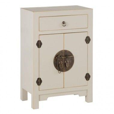 Petite table bois taupe old à motifs 1 tiroir 2 portes métal ORIENTE
