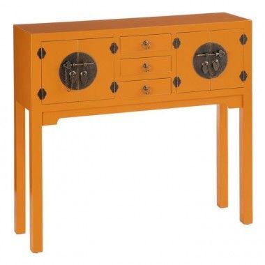 Console bois citrouille à motifs 3 tiroirs 4 portes métal ORIENTE