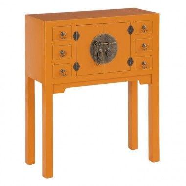 Console en bois citrouille à motifs 6 tiroirs 2 portes métal ORIENTE