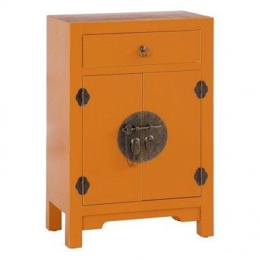 Petite table bois citrouille à motifs 1 tiroir 2 portes métal ORIENTE