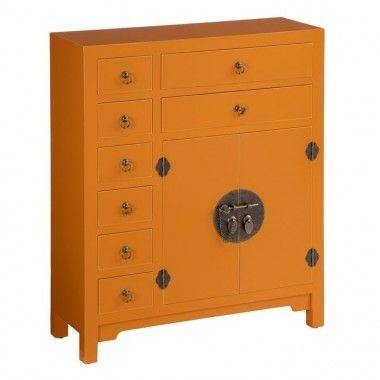 Buffet bois citrouille à motifs 8 tiroirs 2 portes métal ORIENTE