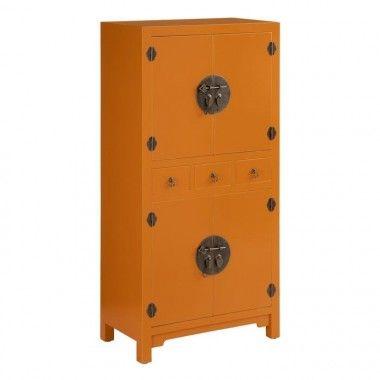 Commode bois citrouille à motifs 3 tiroirs 4 portes métal ORIENTE