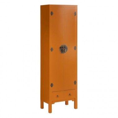 Armoire bois citrouille à motifs 2 tiroirs 2 portes métal ORIENTE