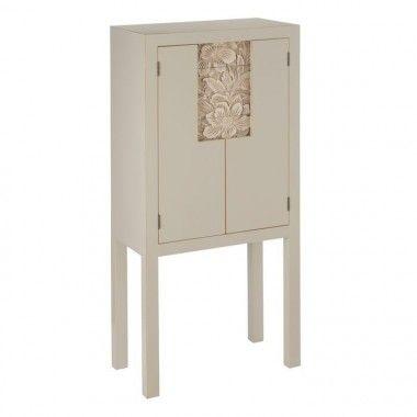 Armoire cabinet metal taupe old 4 tiroirs 2 portes SERESTI