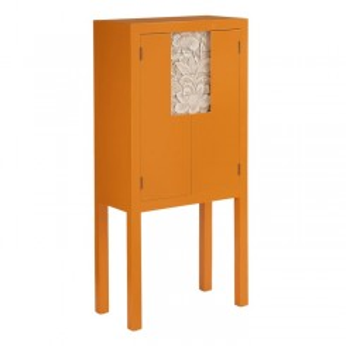 Armoire cabinet metal citrouille 4 tiroirs 2 portes SERESTI