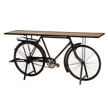 Console vélo bois de manguier metal 193 cm IONES