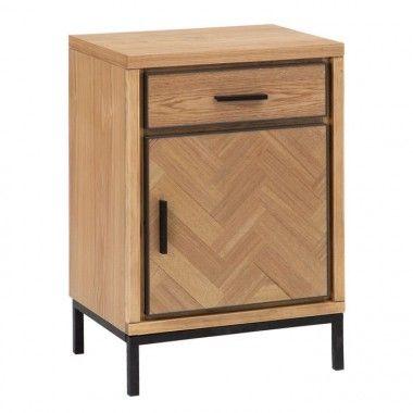 Petite table bois de frêne/métal 1 tiroir 1 porte MESA