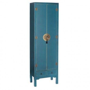 Armoire bois bleu à motifs 2 tiroirs 2 portes métal ORIENTE