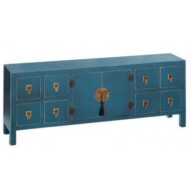Meuble tv bois bleu à motifs 8 tiroirs 2 portes métal ORIENTE