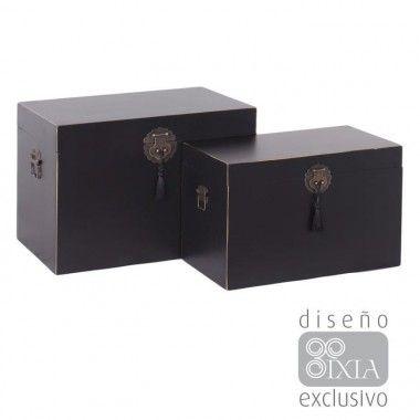 Set de 2 malles bois noir à motifs métal ORIENTE