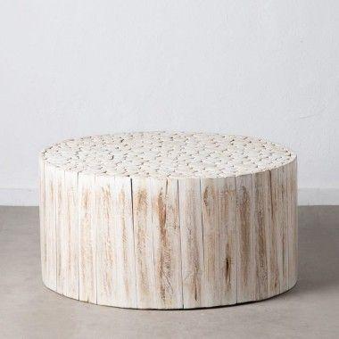 Table basse ronde en rondin de bois blanc 90 cm SUZUKO