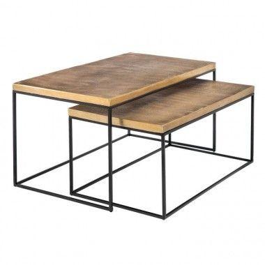 Set 2 tables basses noir/cuivre métal TUNISIA