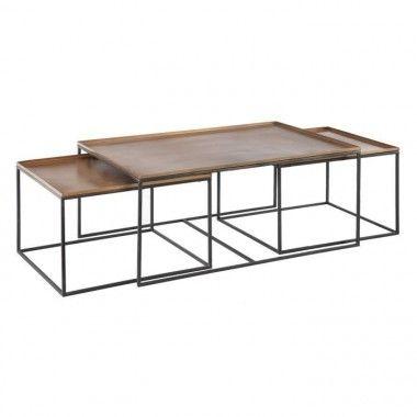 Set 3 tables basses noir/cuivre métal TUNISIA
