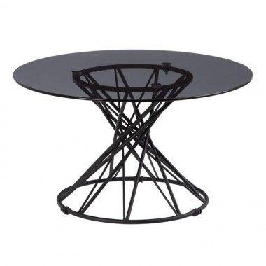 Table basse design ronde verre trempé/métal noir CRYSTAL