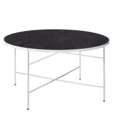 Table basse ronde verre trempé et acier 80cm RANIA