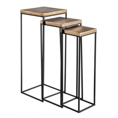 Set 3 tables d'appoint carrées noir/cuivre métal TUNISIA