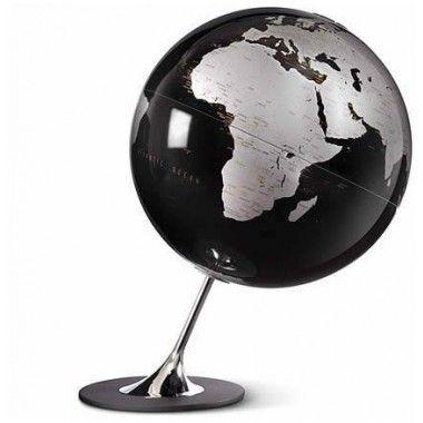 Globe terrestre noir argent sur socle chromé