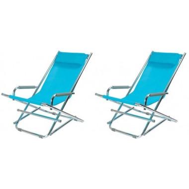 Lot de 2 Chaises longues pliantes bleues