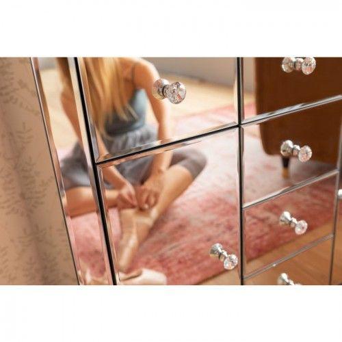 Commode 2 portes 6 tiroirs effet miroir LUXURY