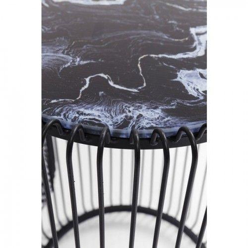 Set de 2 tables d'appoint noires aspect marbre WIRE