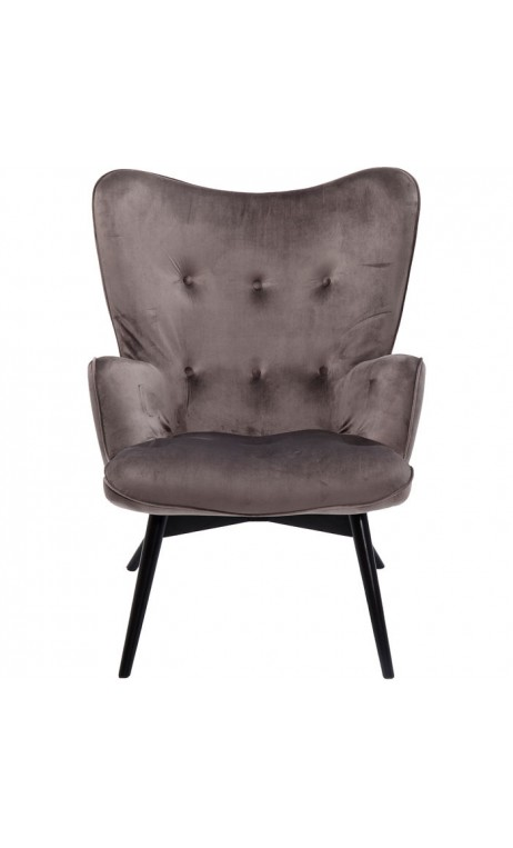 Fauteuil tissu velours gris VICKY