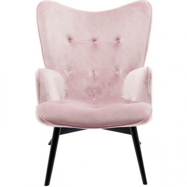 Fauteuil tissu velours rose pâle VICKY
