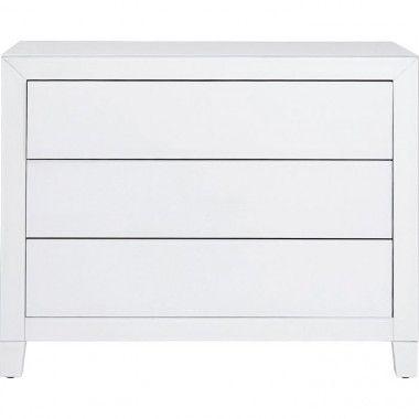 Commode 3 tiroirs full metal blanc LUXURY